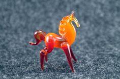 Glass Horse FigurineBlown glass animalsMini by RussianMiniatures