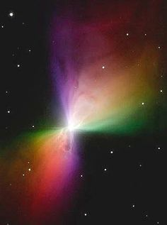 Boomerang Nebula, 5,000 light years away. This is an exploded star that is evolving toward a planetary nebula. The colors, regrettably, are false. They represent a mapping of the various orientations of polarized light from the gas cloud. In actuality the cloud is seen from light reflected off it from the central star. In unpolarized images it appears white.
