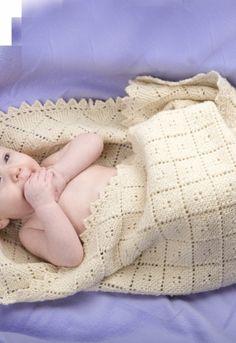 Blødt babytæppe   Strikkeopskrift