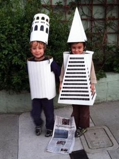 Monument Costumes // SF Gate. - ha! The Coit Tower and the Transamerica building, that's highlarious!