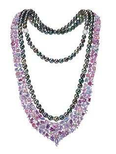 The Aurora necklace by Chow Tai Fook - in 18k white gold with South Sea peacock pearls, pink and purple sapphires, green garnets and white diamonds.