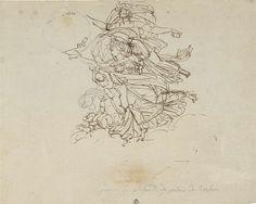 Philippe Auguste Hennequin | Ontwerp voor figuurgroep in het paleis van koning Lodewijk Napoleon te Haarlem, Philippe Auguste Hennequin, 1806 - 1810 | Ontwerp voor een fresco met twee vrouwenfiguren en twee kinderen.