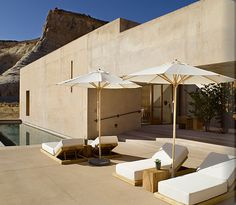 """Beautiful Amangiri Resort with Uninterrupted Splendid Desert ViewsI can't stop dreaming about Amangiri Hotel …. The Amangiri , called """"the peaceful mountain"""" is located on 600 acres in Canyon Point, Souther. Amangiri Hotel, Amangiri Resort, Amangiri Utah, Outdoor Spaces, Outdoor Living, Outdoor Decor, Outdoor Furniture, Outdoor Ideas, Desert Resort"""