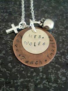 Teacher Love Teach Inspire Necklace $25 Metallic Kreations Facebook