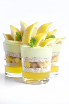 Lemon mango verrines. Try making a pancake with coconut flavour for this.