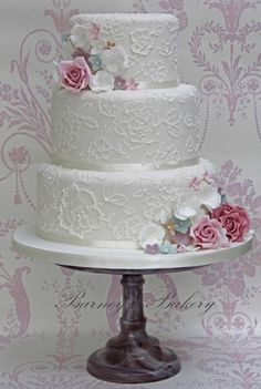 Perfect design to incorporate your colour palette!  Barney's Bakery, Vintage Brush Embroidery Wedding Cake