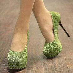 Sparkly Green Heels