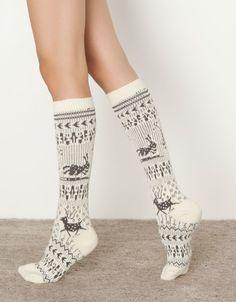 Winter reindeer knit socks
