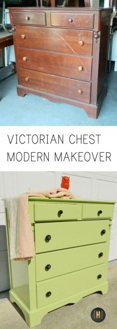 A pair of Victorian chests get a modern makeover in a bright color and bold accessories | {Home-ology} modern vintage