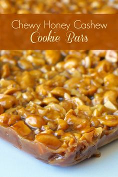 Honey Cashew Cookie Bars are chock full of crunchy cashews in decadent, chewy honey caramel on a brown sugar shortbread base all drizzled in chocolate. YUM! Rock Recipes, Candy Recipes, Cookie Recipes, Sweet Recipes, Dessert Recipes, Cashew Recipes, Bar Recipes, Healthy Recipes, Cookie Desserts