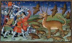 Alexander the Great vs. bats and ratsLe Livre et le vraye hystoire du bon roy Alixandre, France 1420. British Library, Royal 20 B XX, fol. 51v