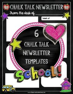 Freebie: Newsletter TemplatesI love the chalk look, so I just HAD to come up with some chalkboard newsletters. I hope you enjoy this set of 6 newsletters. Class Newsletter, Classroom Newsletter Template, Newsletter Ideas, Newsletter Templates, 5th Grade Teachers, Teachers Toolbox, Teacher Resources, New Classroom, Classroom Themes