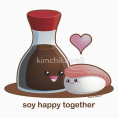Soy Happy Together! Great for couples and Valentines. A punny and funny tshirt, hoodie, mug, laptop/cellphone skin, bag, print, stationary, or sticker. Perfect gift for him and perfect gift for her. Very cute kawaii pun.
