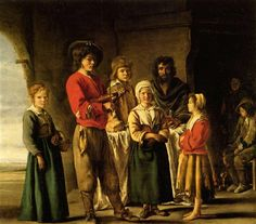 Peasants in the cave house by Le Nain brothers. Baroque. genre painting