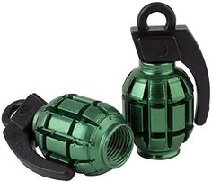 Decorative Bicycle Valve Capss - 2 Count Cool and Custom Grenade Bomb with Easy Grip Design Tire Wheel Rim Air Valve Stem Dust Cap Seal Made of Genuine Anodized Aluminum Metal Forest Audi Green and Black Colors  Hard Metal Internal Threads for Easy Application  Rust Proof  Fits For Most Cars Trucks SUV RV ATV UTV Motorcycle Bicycles ** Click image for more details.