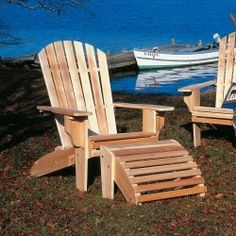 Cedar Oversized Adirondack Chairs and Ottoman
