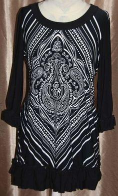 Style & Co. Size M Dress Black and White 3/4 sleeves ruffle bottom Geo Pattern #StyleCo