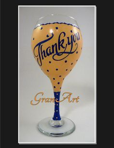 Party Favors. Thank You Wine Glass/Party Favors/Hand Painted Wine by GranArt