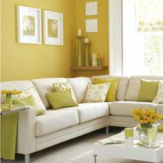 A nice collection of pillows for spring #yellow, #spring, #decor, #pillows