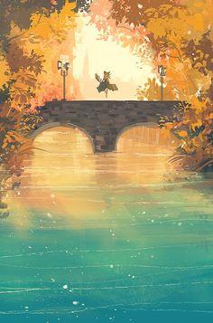 """""""이제 어디로 갈까? 114/365 #365days_of_daydream"""" Fantasy Landscape, Landscape Art, Fantasy Kunst, Fantasy Art, Bel Art, Art Environnemental, Japon Illustration, Anime Scenery, Environmental Art"""