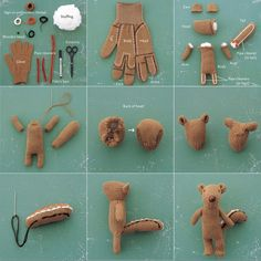 Do it yourself! Recycled glove chipmunk softie by Miyako Kanamori.