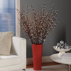 This flexible pre-lit willow branches can be shaped in many different ways letting you customize the look of your room.