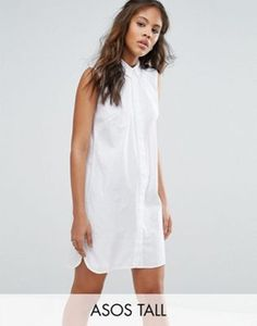 ASOS TALL Sleeveless Cotton Shirt Dress