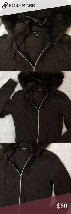 Bebe Sport Zip Up Rabbit Fur Hoodie Armpit to armpit 18.5 inches. Shoulder to he, is 20.5 inches. Dyed rabbit fur around hood. Printed heavy jacket. Please note front bottom hem has some pulling in the lining. Refer to pictures for fabric content. bebe Jackets & Coats