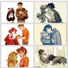 Frazel, Caleo, Tyson x Ella, Percabeth, Grover x Juniper, Jasper