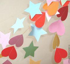 Купить Гирлянды Золотые звезды - гирлянда, гирлянда из бумаги, бумажная гирлянда, оформление интерьера