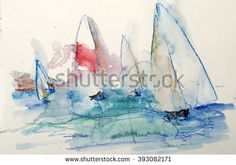 Watercolor yacht, sailing regatta, modern painting, contemporary art - stock…