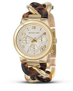MICHAEL Michael Kors Stainless Steel and Tortoise Link Bracelet Watch, 38 mm | Bloomingdale's