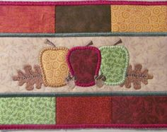 Machine Embroidery Design-Mug Rug-Apples Patchwork with 2 sizes, 5x7 and 6x10 hoops