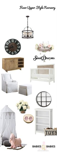 Fixer Upper Style Baby Nursery  design inspired by Joanna Gaines designs on the hit show Fixer Upper.#FixerUpperStyleNursery