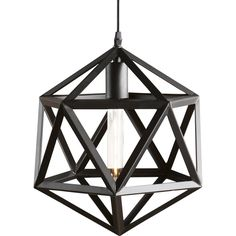 Grab attention from any angle with this industrially inspired pendant lamp. Matte black, 19-sided geometric cage style shade serves up a thought-to provoke installation guests can't help but admire. As an open filament bulb glows from within, this caged pendant lamp warmly lights up the contemporary style in your living room, dining area or bath.