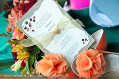Fall colors - vibrant and warm! Fall inspired wedding invitation and bouquet -www.mbnphoto.com