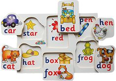 A six piece peg board encouraging the spoken word helping to recognise that some words sound the same with the first letter in a different colour.