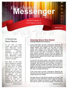 Free Church Newsletter Template Print | newsletter1 | Places to ...