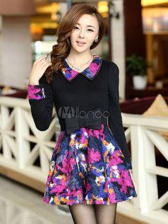 Multi Color Long Sleeves Tie Dye Cotton Lovely Woman's Skater Dress - Milanoo.com