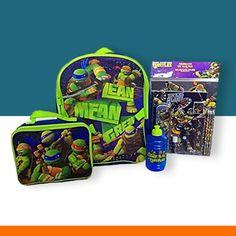Ninja Turtles Backpack Lunch Bag School Supplies and Sippy Water Jug