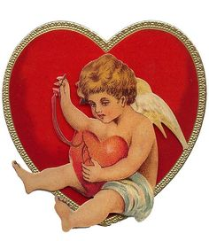 Cupid mending a broken heart Valentine card from England