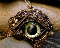 Gothic Steampunk Itty Bitty Evil Eye in Bronze Creepyness With Handpainted Glass Eye
