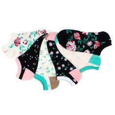 La De Da 6pk Floral No Show Socks