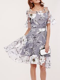 Spliced Flare Sleeve Floral Print Dress