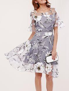 Spliced Flare Sleeve Floral Print Dress