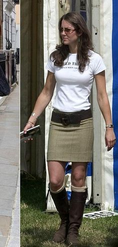 love t-shirts with skirts...Kate Middleton wearing Penelope Chilvers boots