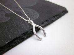 Brushed Silver Wishbone Necklace  Wishbone Pendant by CambaJewelry