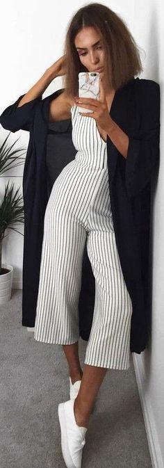 #summer #popular #outfits | Black Cardi + Pinstripe Jumpsuit