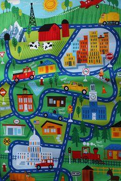 Baby playmat On the go, Cotton fabric play mat, Boy mat, Handmade Transportation playmat, Racecars Race Track, Roadway, Vehicles