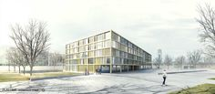 2+2 architecture. 5th prize for a school in Yverdon-les-Bains (Switzerland).  [Image: Play-time]